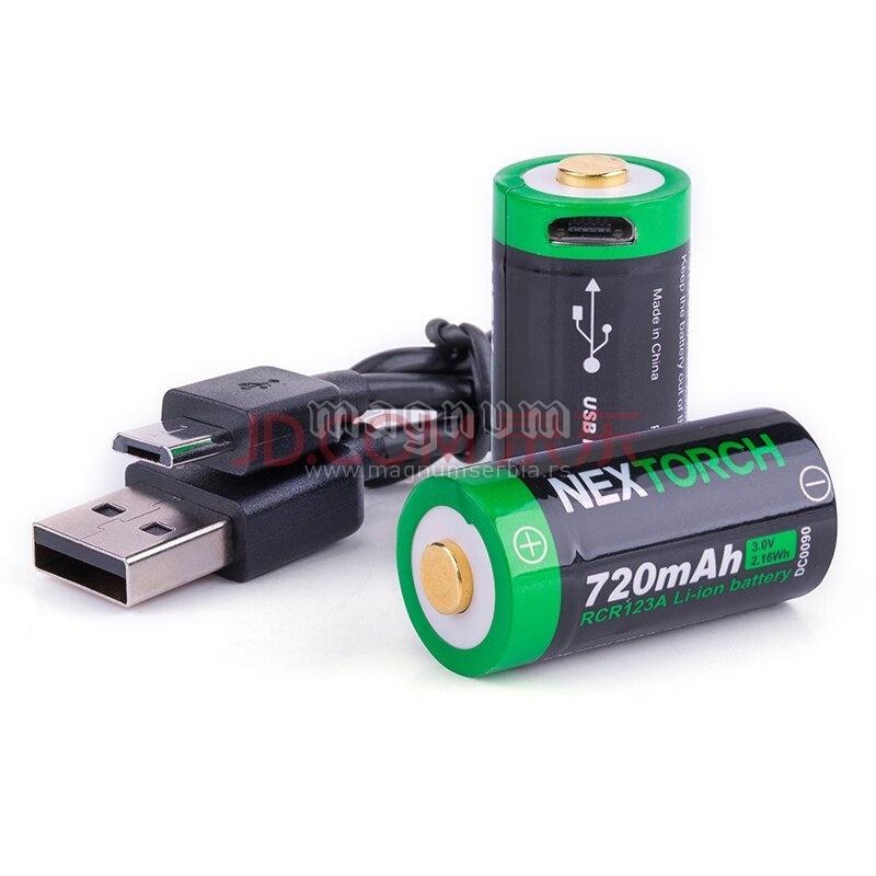 Baterija RCR123A punjiva Nextorch set 2/1
