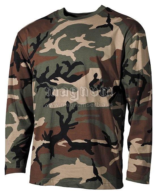 Majica MFH 00113T dugi rukav Woodland